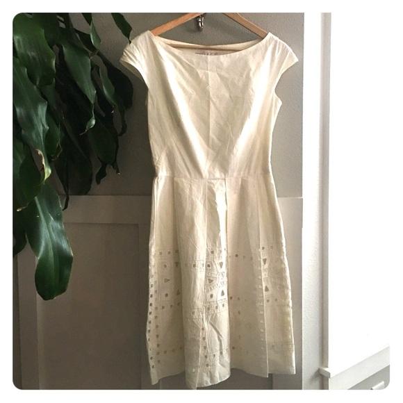 Lela Rose Dresses & Skirts - Lela Rose Cotton Ivory Fit and Flare